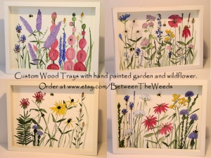 Painted trays with wildflowers
