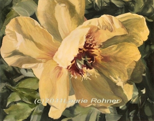 Yellow Peony watercolor painting by Laurie Rohner