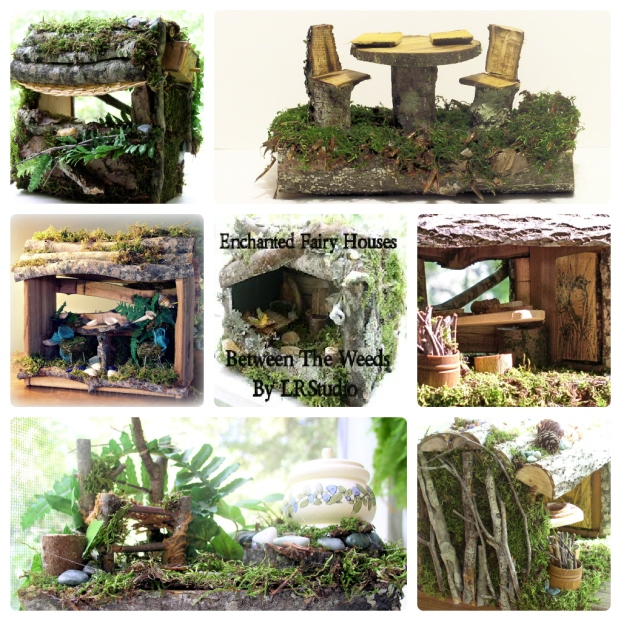 Handmade fairy houses by Between The Weeds