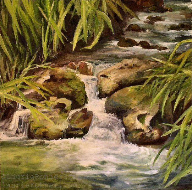 Original Nature Art Water Oasis Oil Painting Landscape by Laurie Rohner