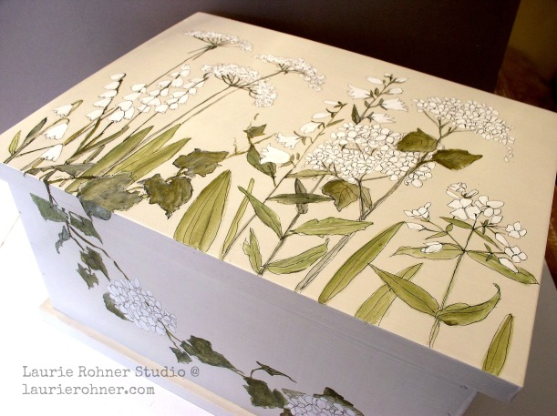 Painted furniture custom made keepsake nature box is painted with botanical garden flowers and woodland herbs in greens and whites by Laurie Rohner.