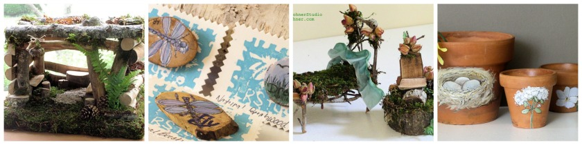 Garden gifts, fairy houses and nature pins.