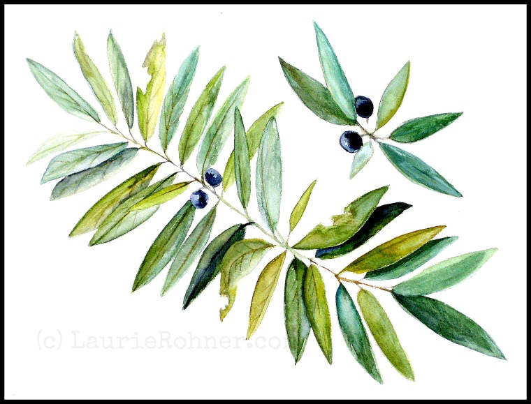 Botanical Leaves and Berries Watercolor Painting Original Nature Art