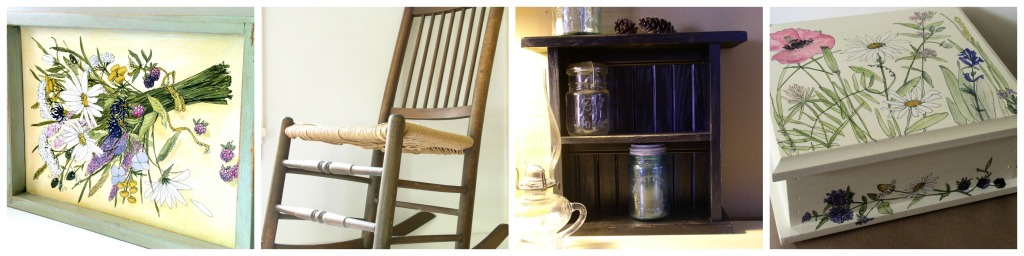 Painted furniture, boxes, cottage home decor.