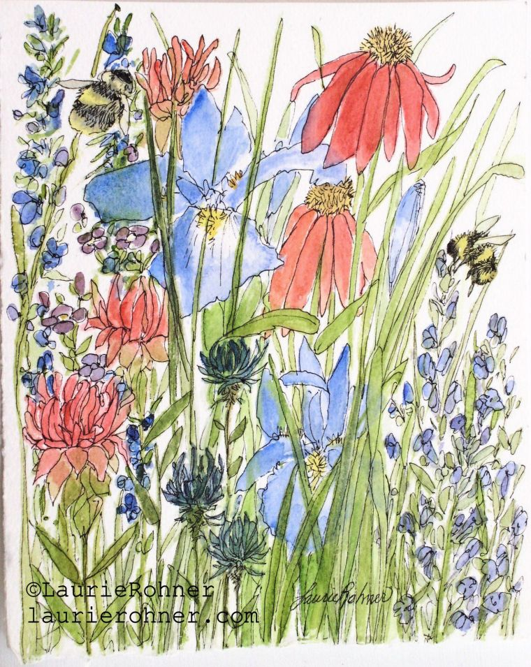 Nature art watercolor botanical garden wildflowers and bees.