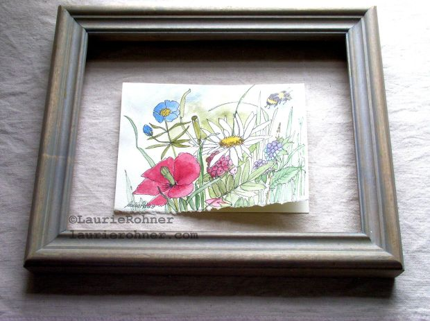 Watercolor art card with berries for fairy frolics.