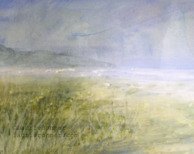 landscape painting in watercolor of summer sea shore