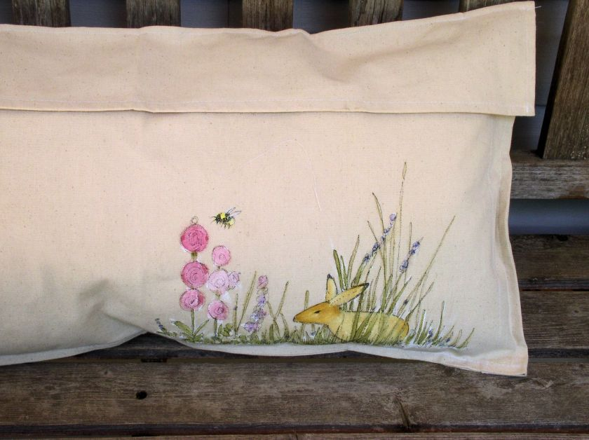 Rabbits in the Garden Hand Painted Pillow Back