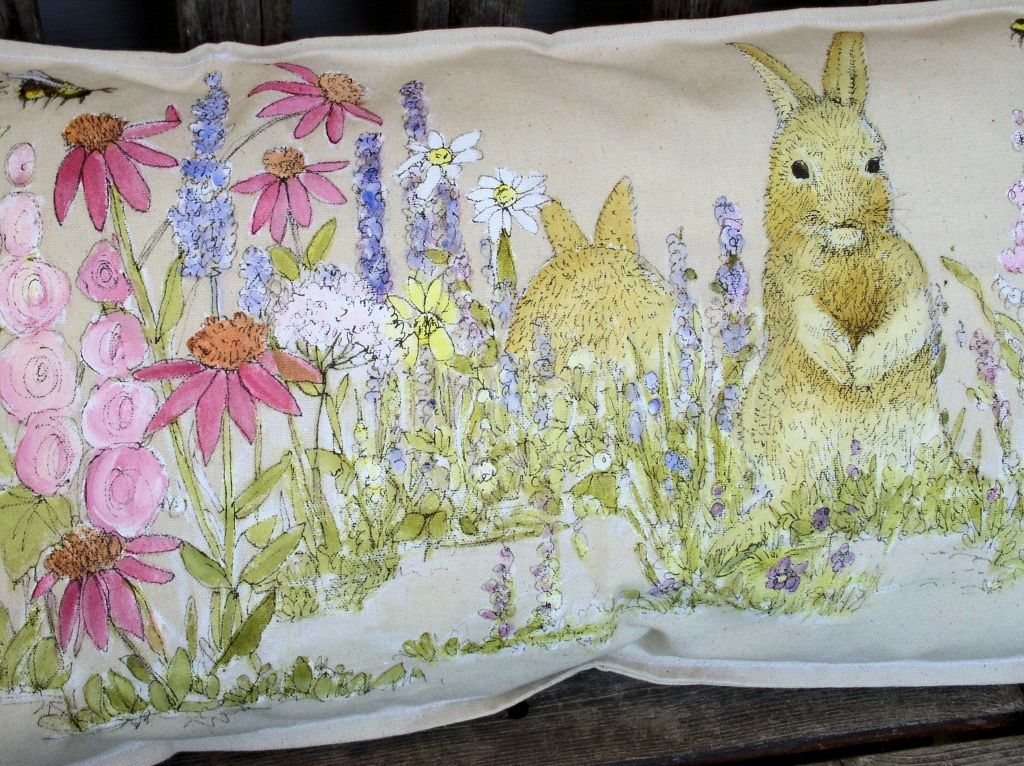 Rabbits in the Garden Bench Pillow Hand Painted Functional Art