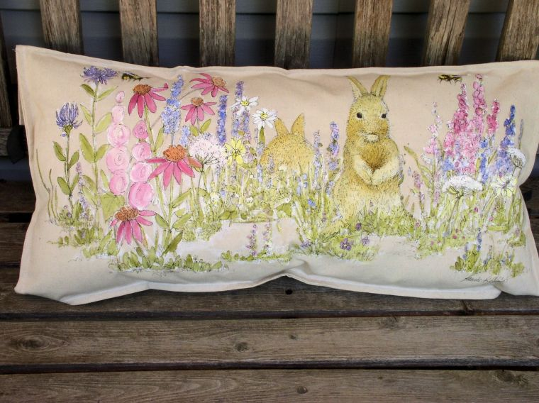 Bunny in the garden pillow is hand painted cottage shabby chic