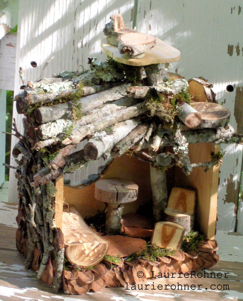 Twig Woodland Fairy House Handmade One of a Kind with Fairy Furniture for Between The Weeds by Laurie Rohner.
