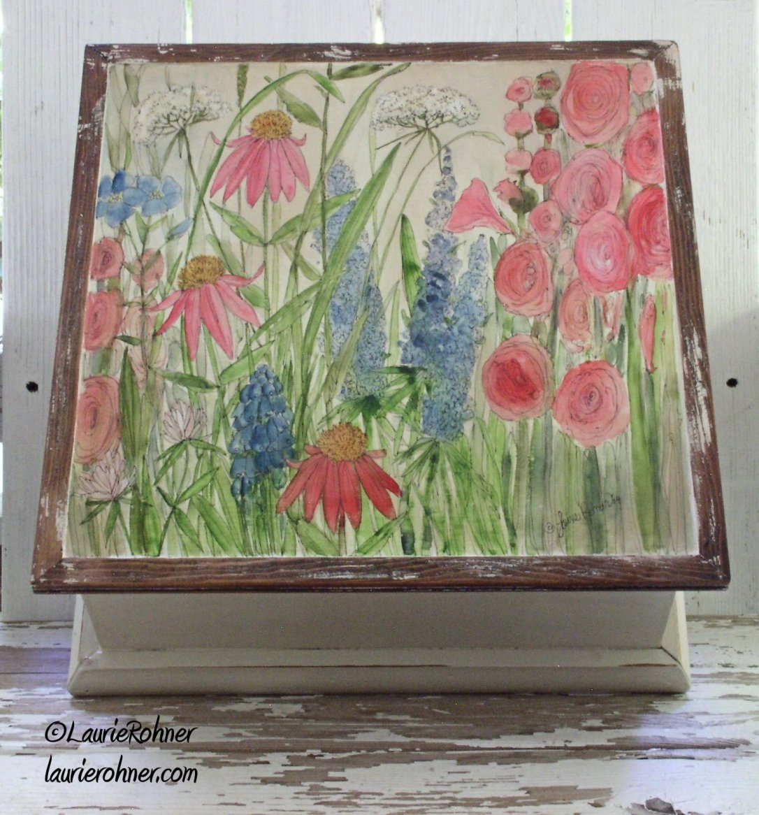 Large painted wood box