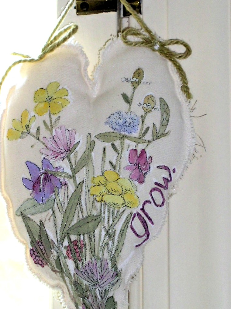 Heart Pillow Hand Painted Fabric