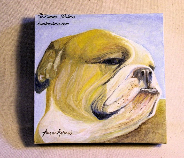 Bulldog Oil on Canvas by Laurie Rohner