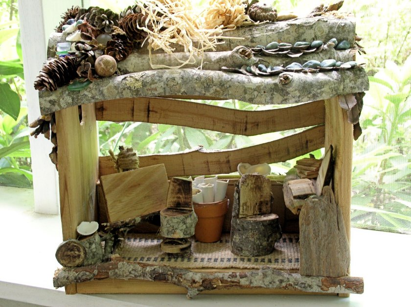 Custom handcrafted woodland fairy house