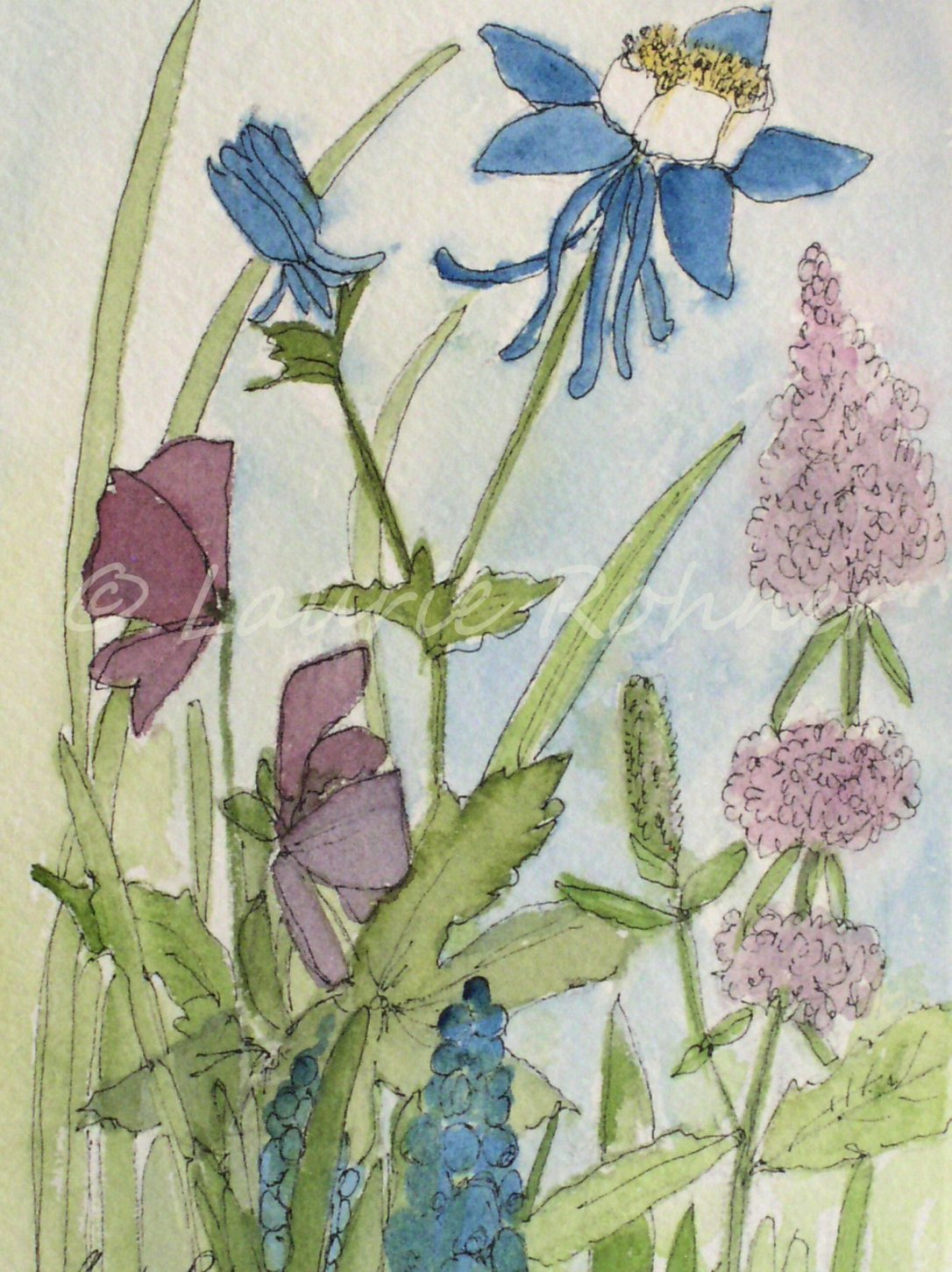 Botanical Garden Flower Art by Laurie Rohner