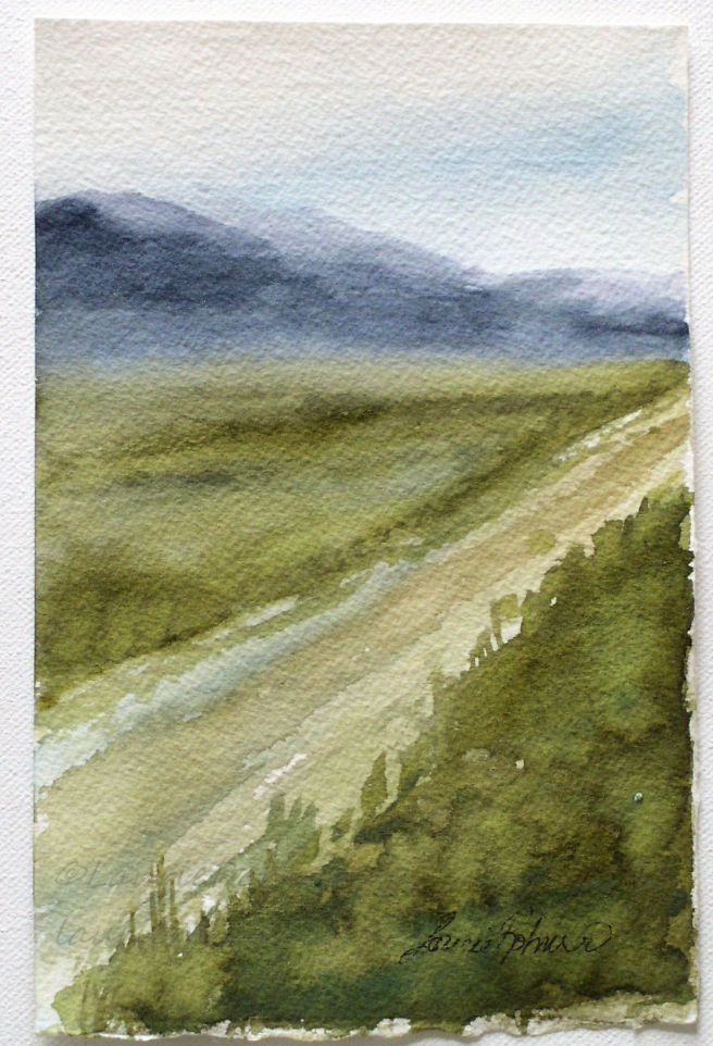 Titled: Blue Mountain Medium: Watercolor on paper.