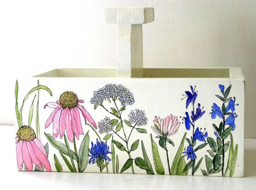 Painted Nature Planter Box or Tote Hand Painted with Garden Flowers.
