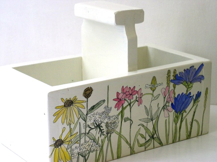 Cottage Painted Nature Planter Box or Tote