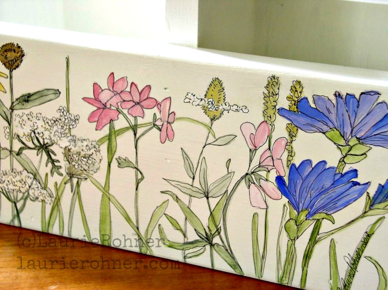 Nature Planter Box or Tote Hand Painted with botanical garden woodland flowers