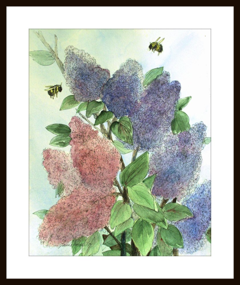 Lilacs in Spring Botanical Original Watercolor Painting