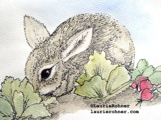 My baby bunny sits in the cabbage patch nibbling is an illustration watercolor nature art blank card.