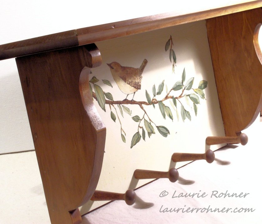 Hand Painted Bird on Tree Branch Wood Shelf with Pegs