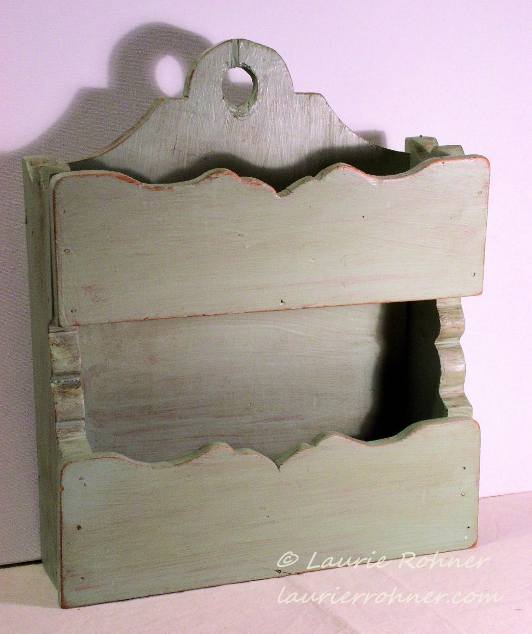 Painted Sage Green Wood Pocket Organizer