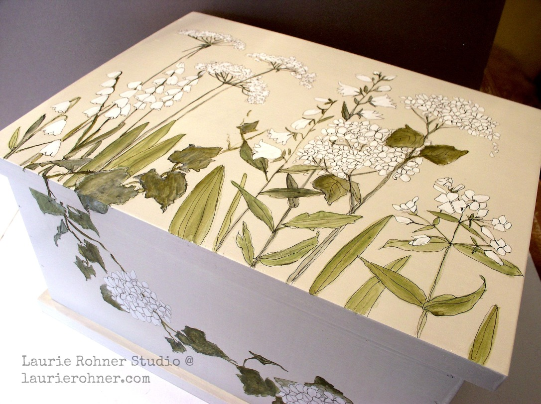 Painted furniture custom made keepsake nature box is painted with botanical garden flowers and woodland herbs