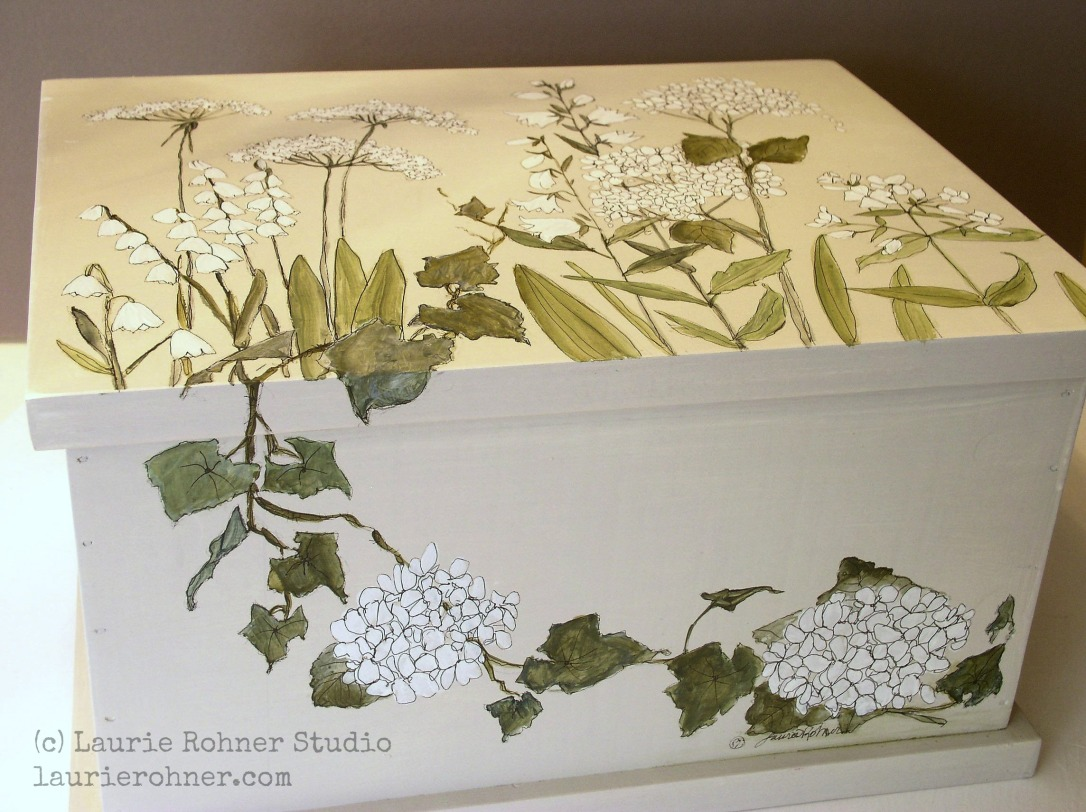 Botanical Garden Flowers  Painted Furniture Nature Box Keepsake