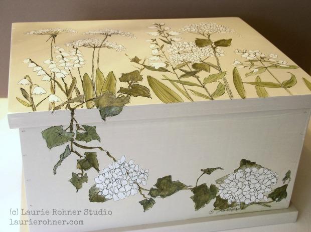 Botanical Garden Flowers  Painted Furniture Nature Box Keepsake