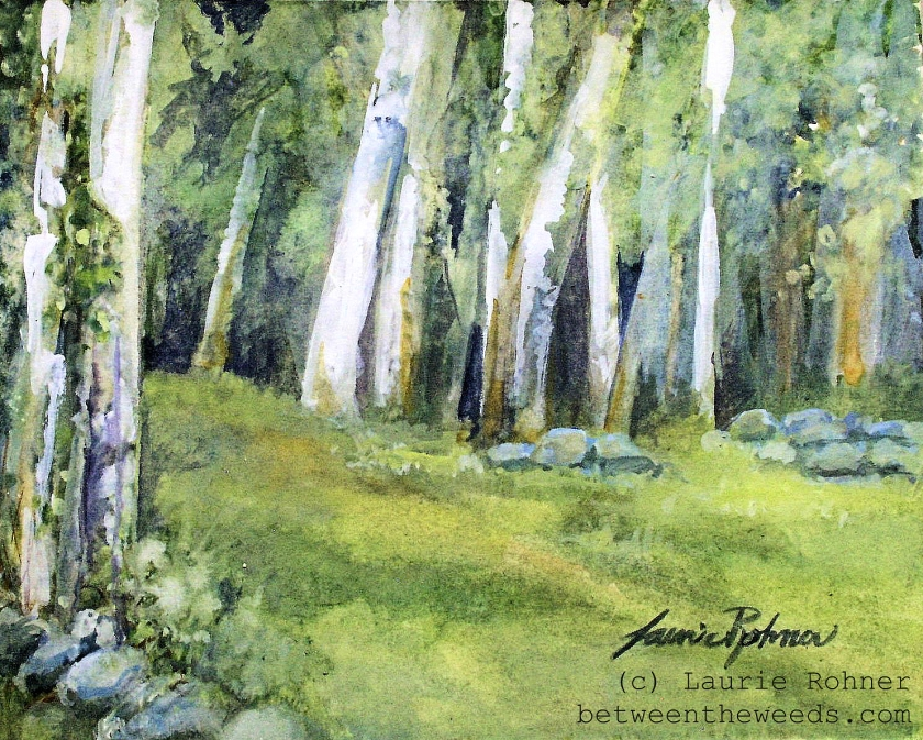 Spring Fields Watercolor Nature Landscape by Laurie Rohner