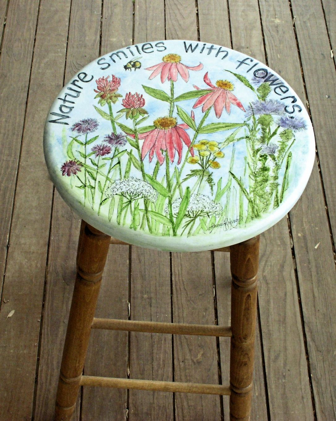 Hand Painted Furniture Garden Flowers with Nature Saying Stool