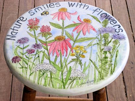 Hand Painted Furniture Garden Flowers on Stool