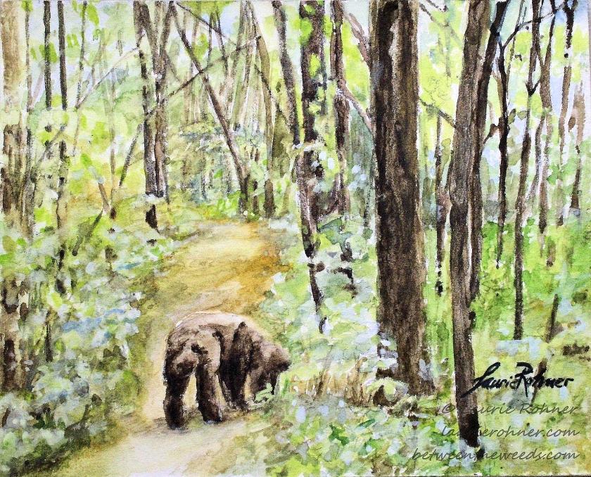 Walk the Dog Forest Landscape Watercolor