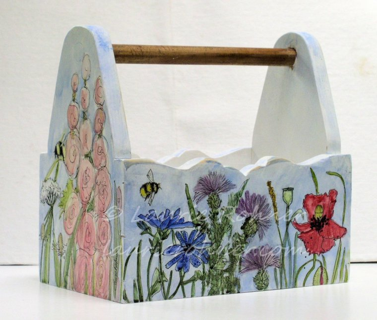 Botanical Wildflowers Custom Hand Crafted Wood Tote