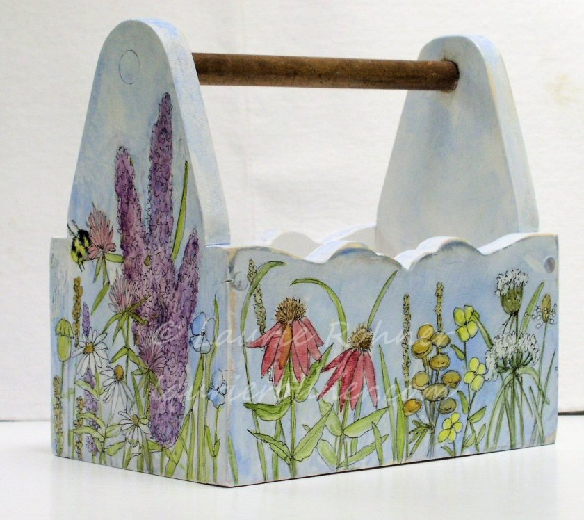 Hand Painted Watercolor Garden Wood Tote