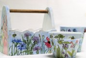 Painted tote and flower pots in watercolors.