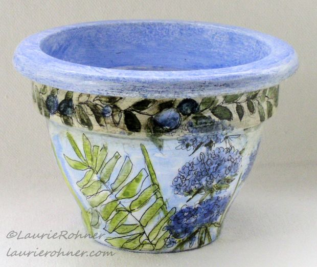 Hand Painted Clay Pot with Herbs and Flowers