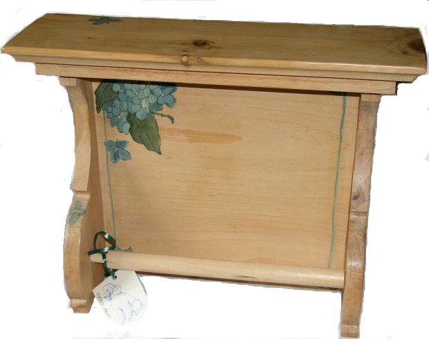 Painted Paper Towel Holder with Blue Hydrangea and Shelf