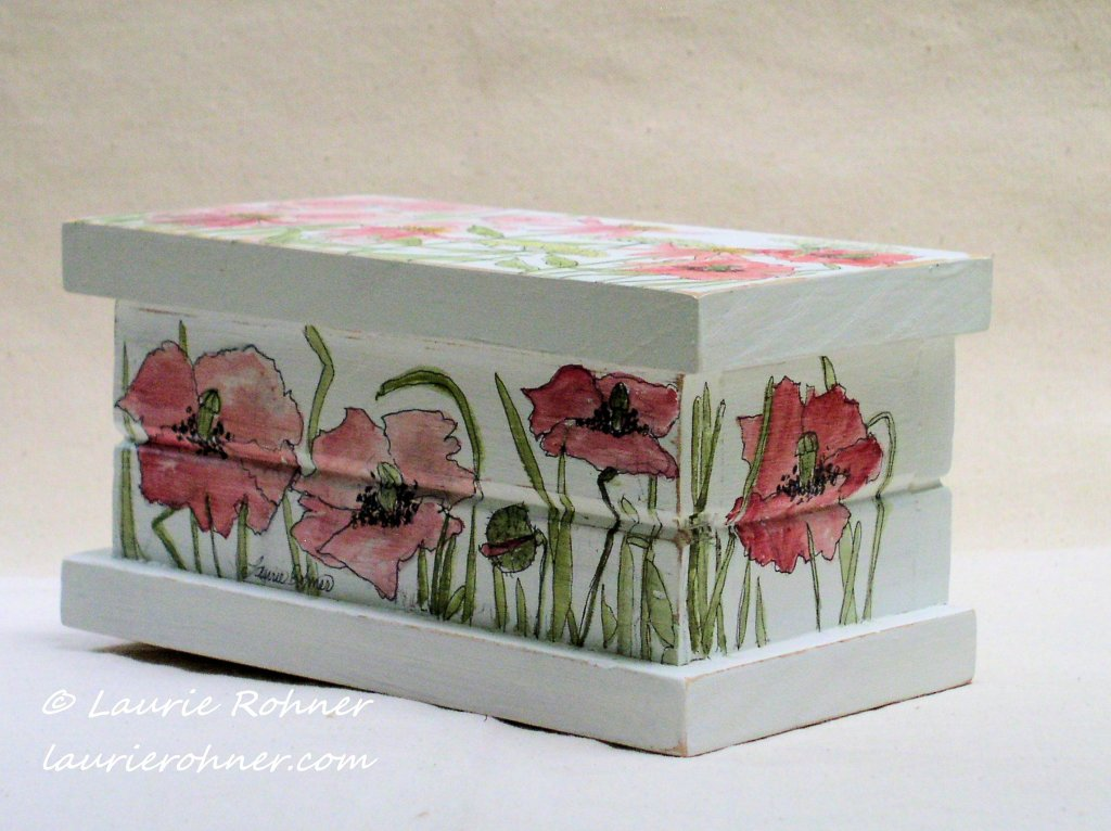 Hand Painted Keepsake Box with Pink Garden Flowers