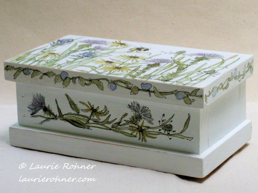 Hand Painted Keepsake Box with Wildflowers