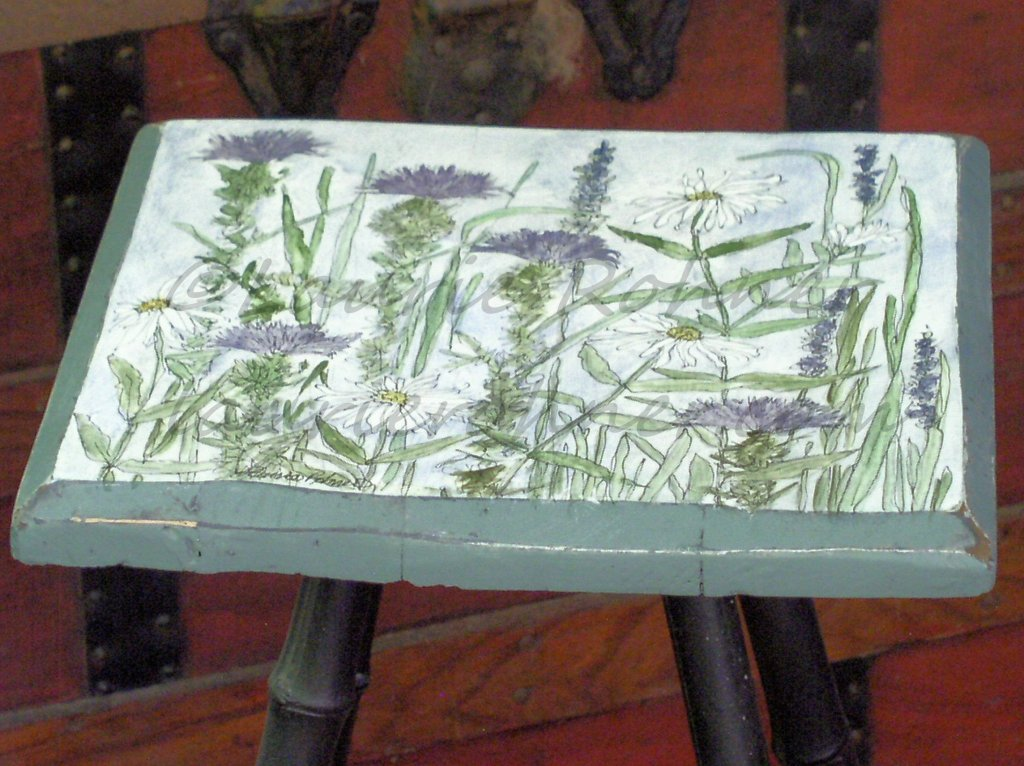 Hand Painted Furniture Custom Accent Table with Botanical Wildflowers
