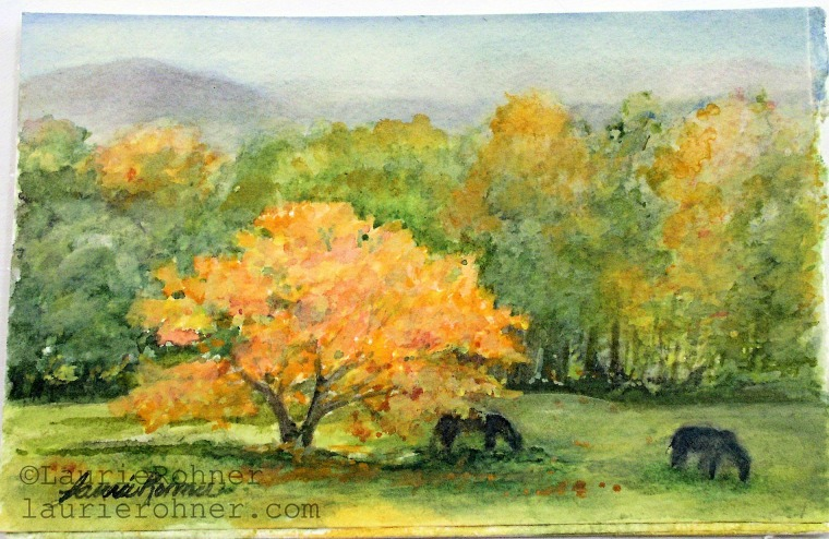 FALL AUTUMN LANDSCAPE WATERCOLOR PICTURESQUE SCENE NATURE ART PAINTING