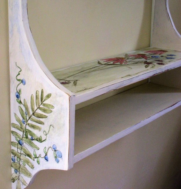 Hand Painted Cottage Shelf with Painted Wildflowers