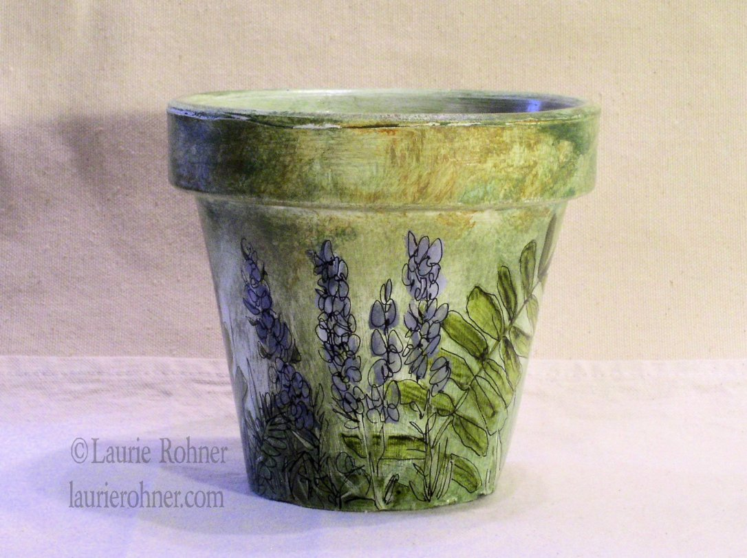 HAND PAINTED GARDEN CLAY POT