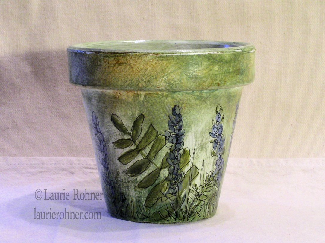 HERB AND FERN HAND PAINTED GARDEN CLAY POT