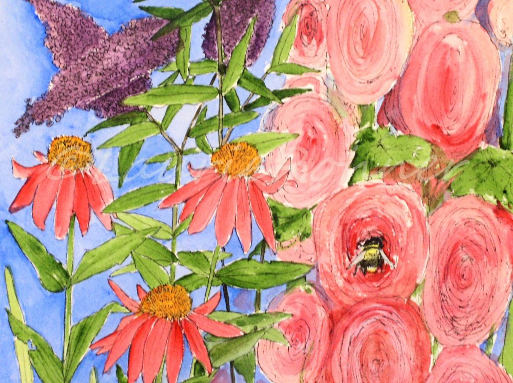 detail of original watercolor by Laurie Rohner