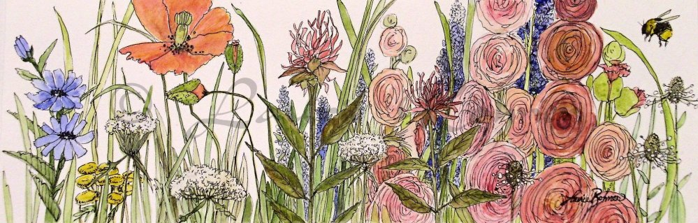 Poppies Bumblebee and Garden Flowers in this watercolor illustration