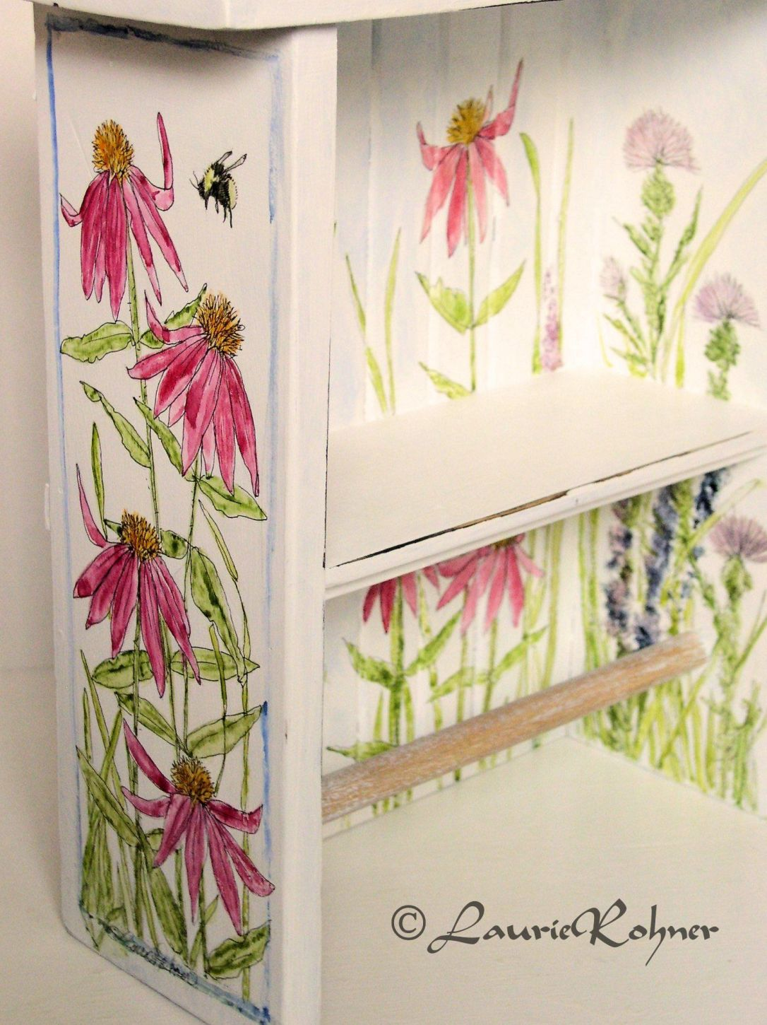 Farmhouse Hand Painted Towel Bar Shelf